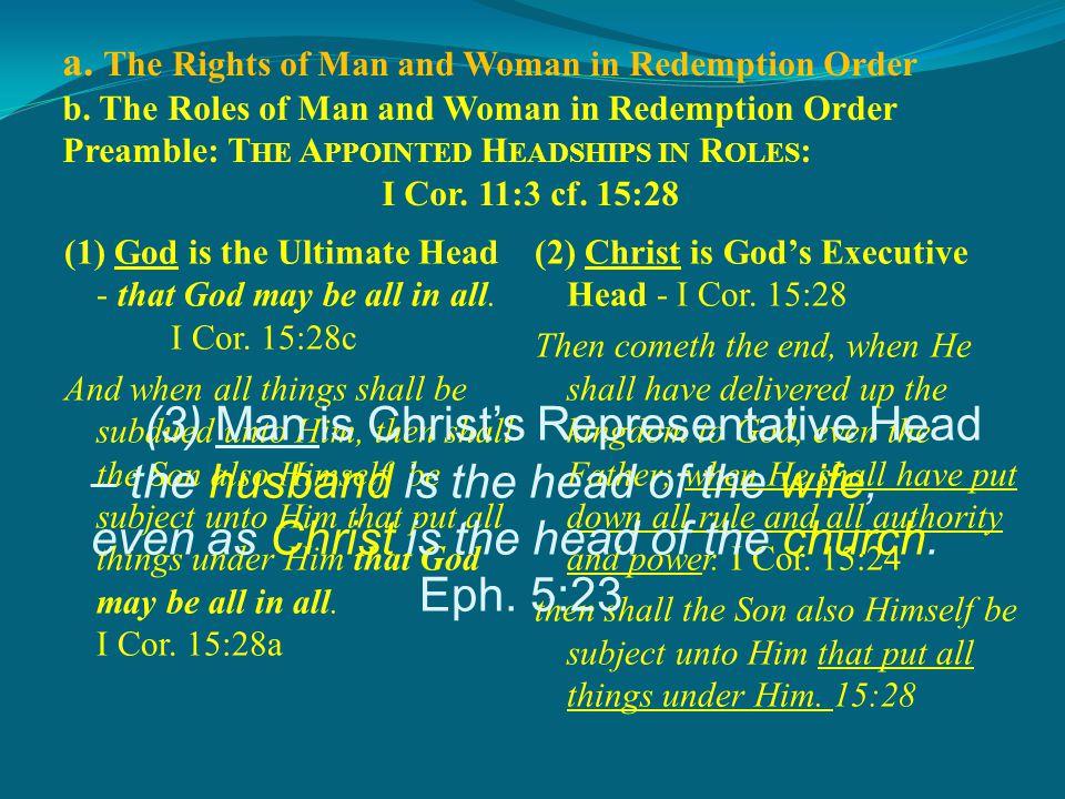 S UMMARY : I.D IVINE H EADSHIP AND O RDER.I Cor. 11:3c A.