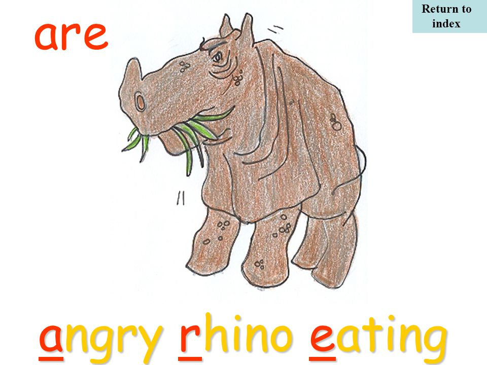 angry rhino eating are Return to index