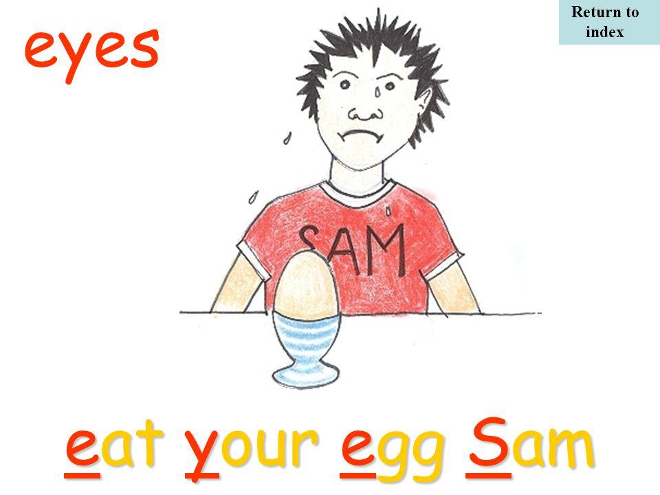 eat your egg Sam eyes Return to index