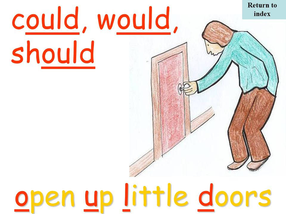 could, would, shouldopen up little doors Return to index