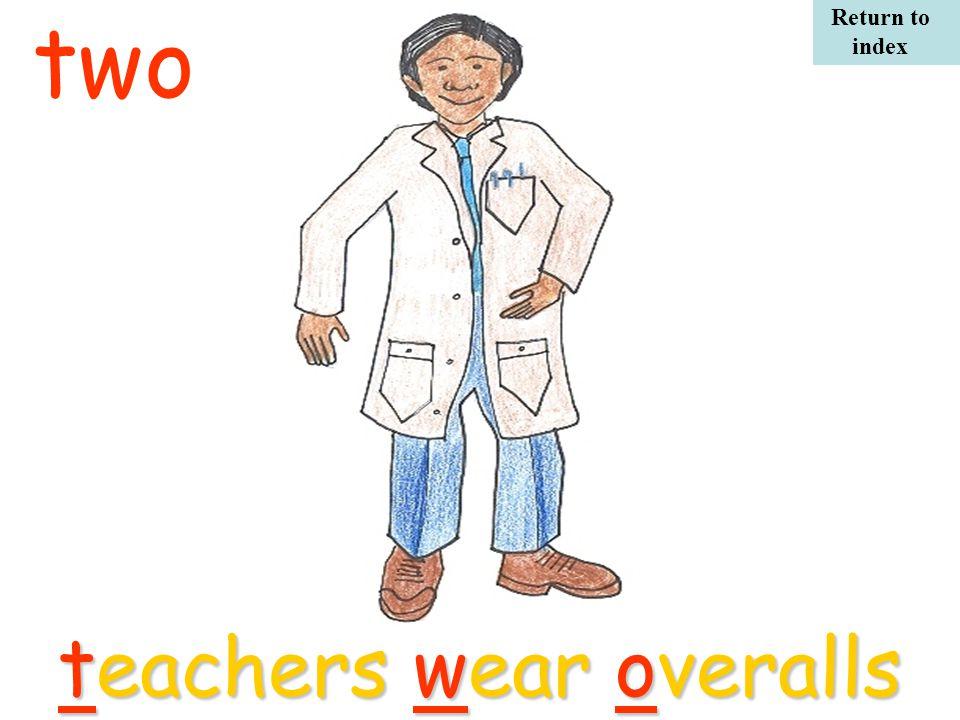 twoteachers wear overalls Return to index