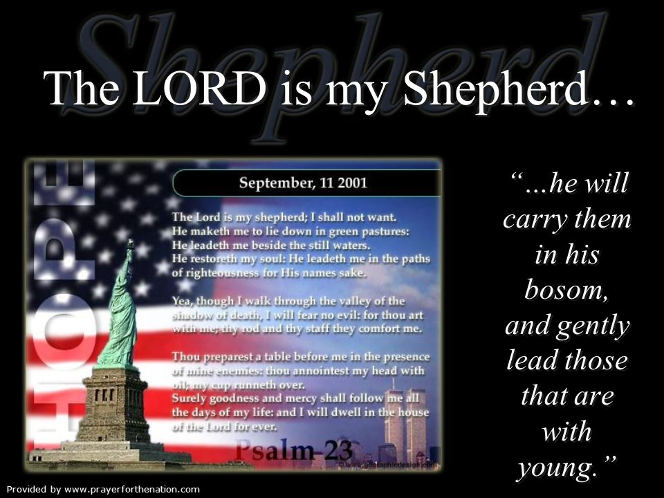 The LORD is my Shepherd… …he will carry them in his bosom, and gently lead those that are with young. Isaiah 40:11b …he will carry them in his bosom, and gently lead those that are with young. Isaiah 40:11b Provided by www.prayerforthenation.com