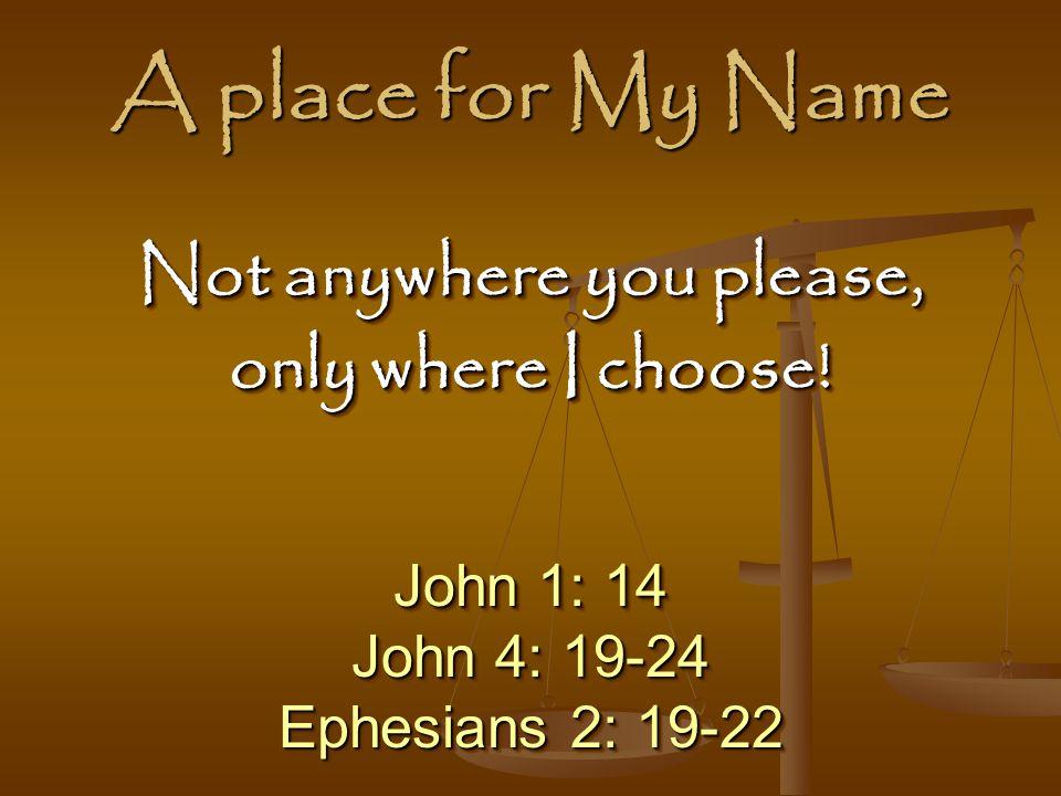 A place for My Name John 1: 14 John 4: 19-24 Ephesians 2: 19-22 John 1: 14 John 4: 19-24 Ephesians 2: 19-22 Not anywhere you please, only where I choose.