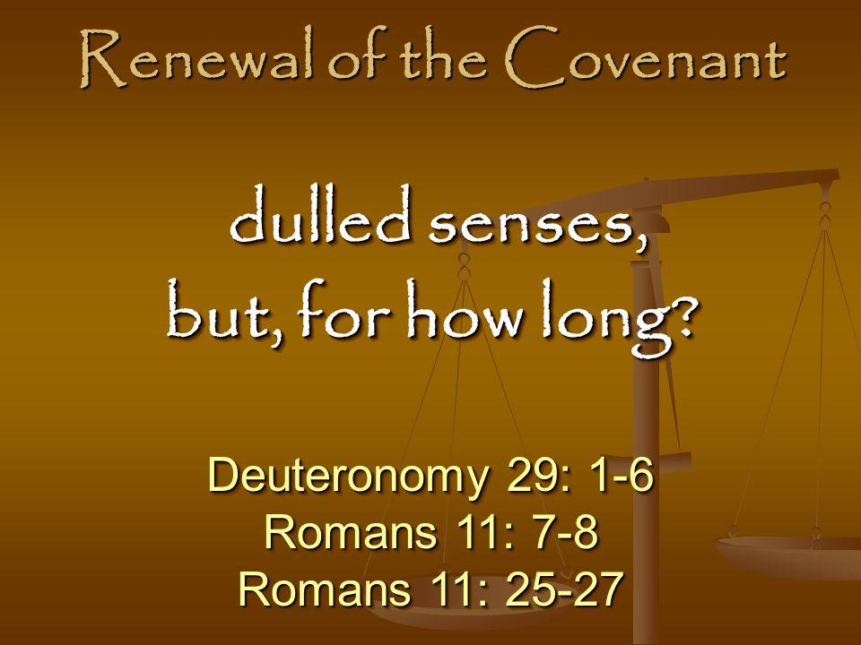 Renewal of the Covenant Deuteronomy 29: 1-6 Romans 11: 7-8 Romans 11: 25-27 Deuteronomy 29: 1-6 Romans 11: 7-8 Romans 11: 25-27 dulled senses, dulled senses, but, for how long.