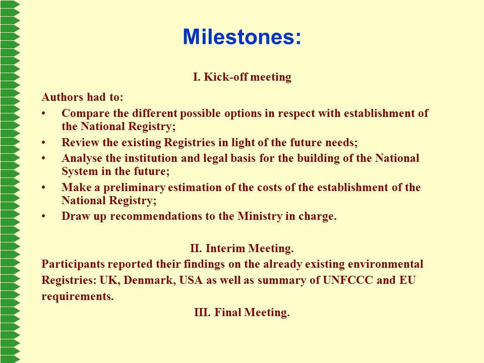 Milestones: I.