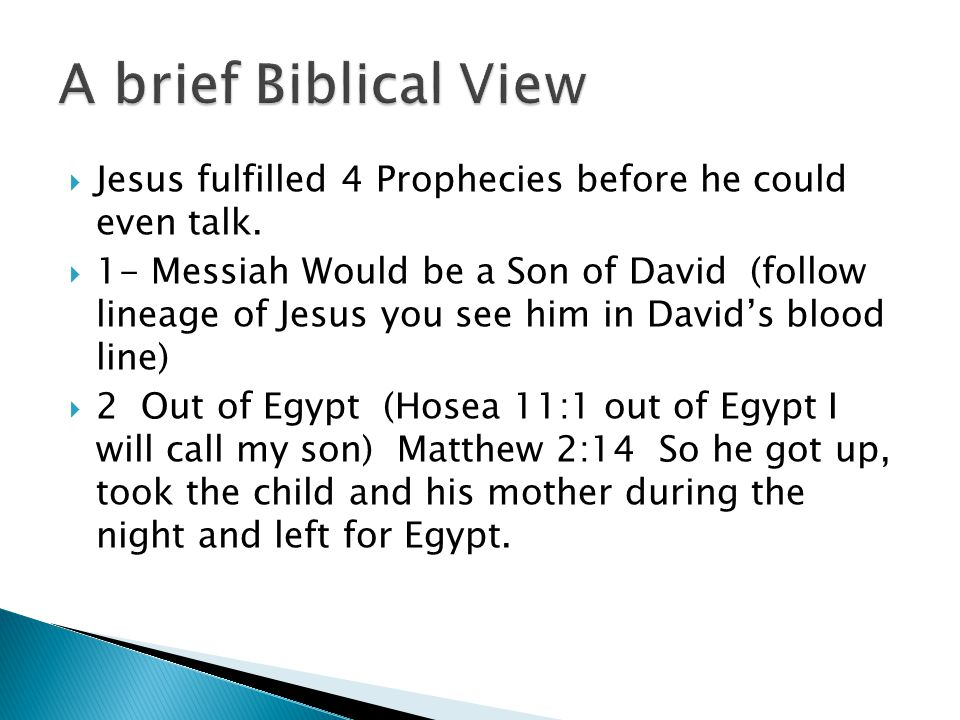  Jesus fulfilled 4 Prophecies before he could even talk.