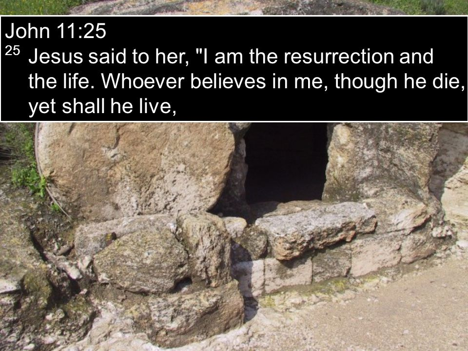 John 11:25 25 Jesus said to her, I am the resurrection and the life.