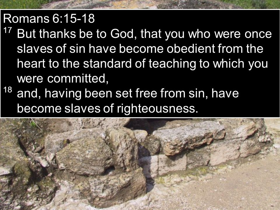 Romans 6:15-18 17 But thanks be to God, that you who were once slaves of sin have become obedient from the heart to the standard of teaching to which you were committed, 18 and, having been set free from sin, have become slaves of righteousness.