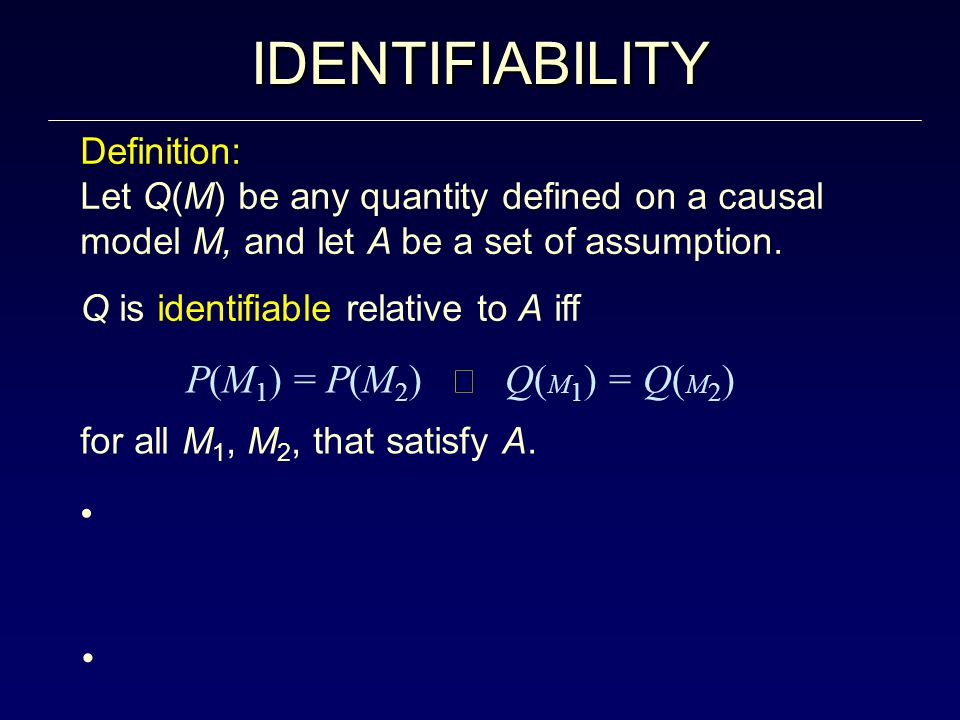 IDENTIFIABILITY Definition: Let Q(M) be any quantity defined on a causal model M, and let A be a set of assumption.