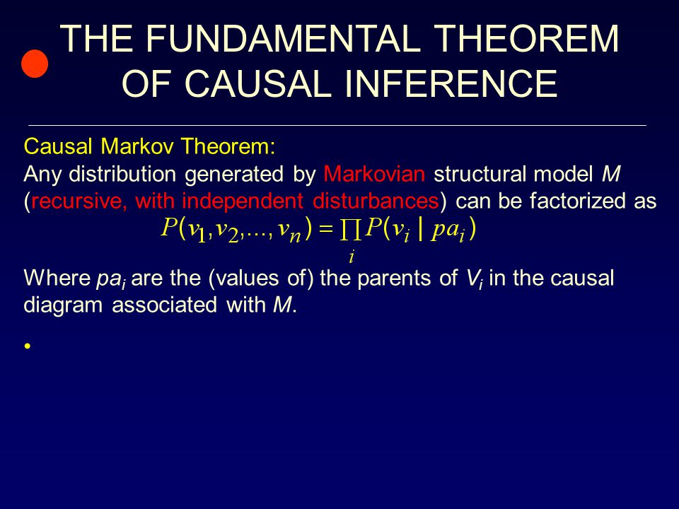 THE FUNDAMENTAL THEOREM OF CAUSAL INFERENCE Causal Markov Theorem: Any distribution generated by Markovian structural model M (recursive, with independent disturbances) can be factorized as Where pa i are the (values of) the parents of V i in the causal diagram associated with M.