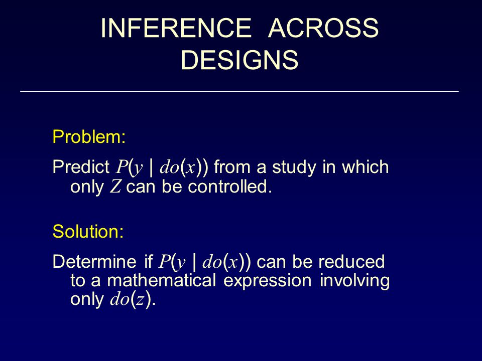 INFERENCE ACROSS DESIGNS Problem: Predict P ( y | do ( x )) from a study in which only Z can be controlled.