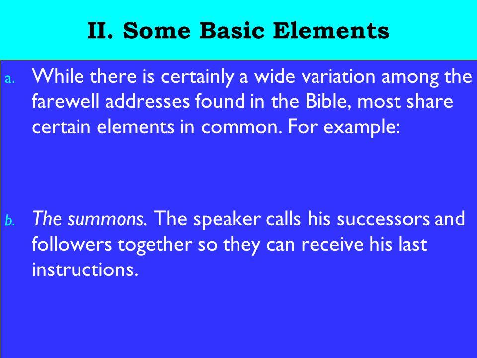 9 II. Some Basic Elements a.