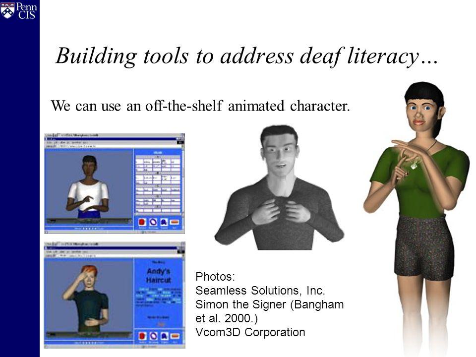 Step 2: AnimNL builds 3D scene Original Image: Simon the Signer (Bangham et al. 2000.)
