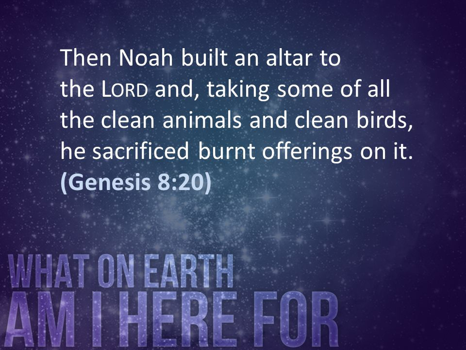 Then Noah built an altar to the L ORD and, taking some of all the clean animals and clean birds, he sacrificed burnt offerings on it. (Genesis 8:20)