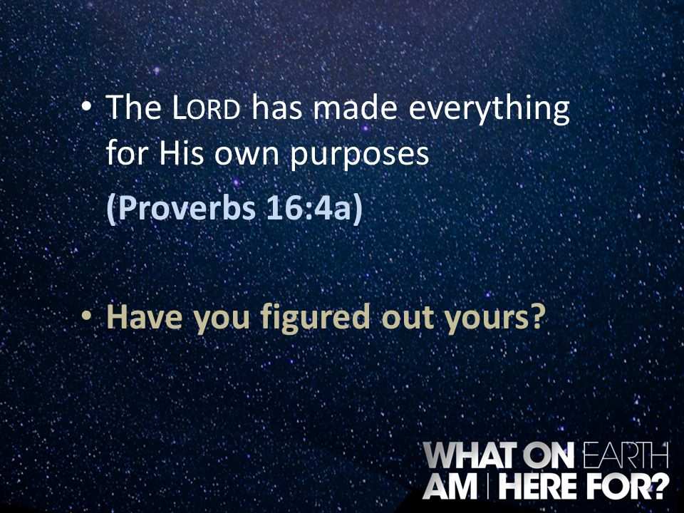 The L ORD has made everything for His own purposes (Proverbs 16:4a) Have you figured out yours?