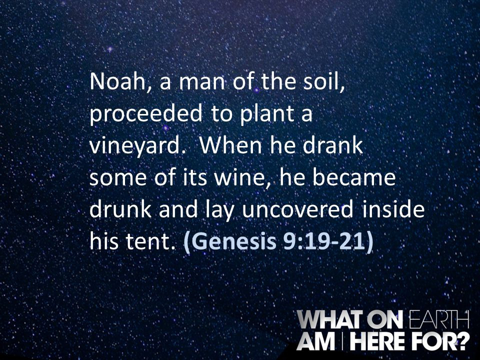 Noah, a man of the soil, proceeded to plant a vineyard. When he drank some of its wine, he became drunk and lay uncovered inside his tent. (Genesis 9: