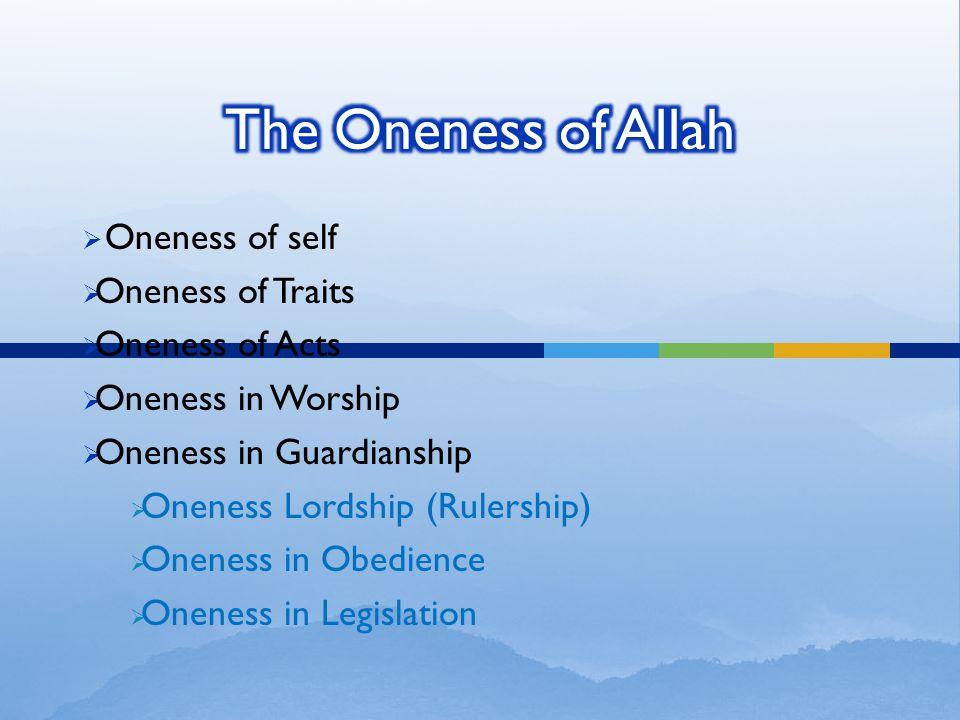  Oneness of self  Oneness of Traits  Oneness of Acts  Oneness in Worship  Oneness in Guardianship  Oneness Lordship (Rulership)  Oneness in Obedience  Oneness in Legislation