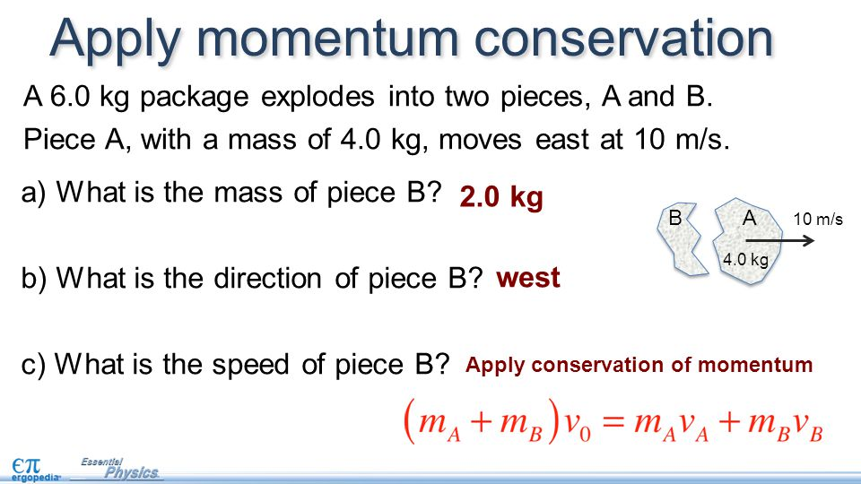 A 6.0 kg package explodes into two pieces, A and B. Piece A, with a mass of 4.0 kg, moves east at 10 m/s. Apply momentum conservation A B 4.0 kg 10 m/