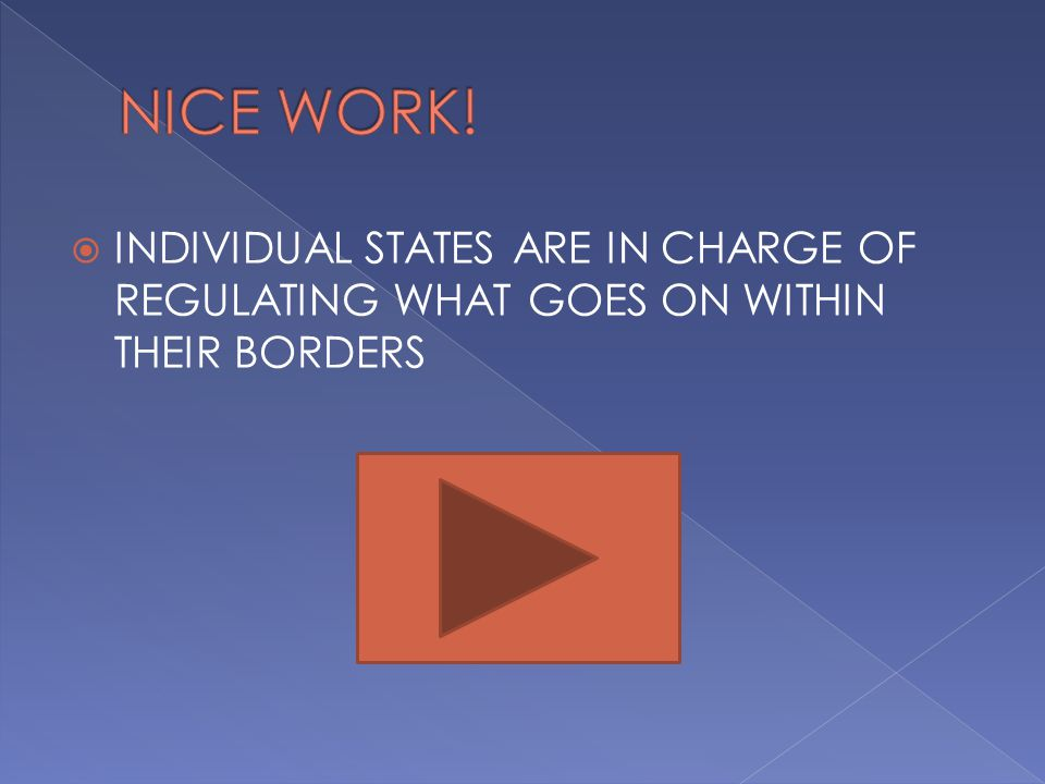  INDIVIDUAL STATES ARE IN CHARGE OF REGULATING WHAT GOES ON WITHIN THEIR BORDERS