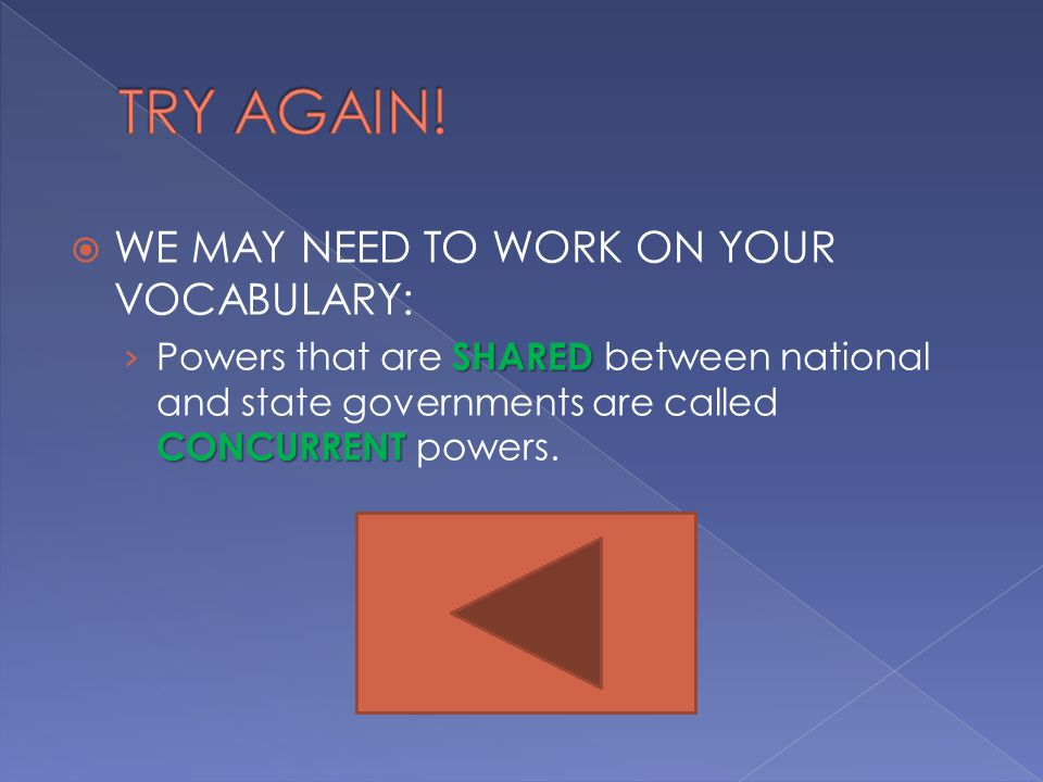  WE MAY NEED TO WORK ON YOUR VOCABULARY: SHARED CONCURRENT › Powers that are SHARED between national and state governments are called CONCURRENT powers.