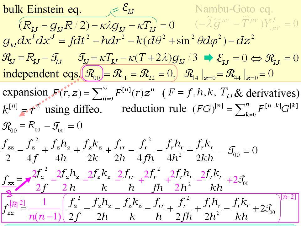 expansion reduction rule & derivatives) bulk Einstein eq.