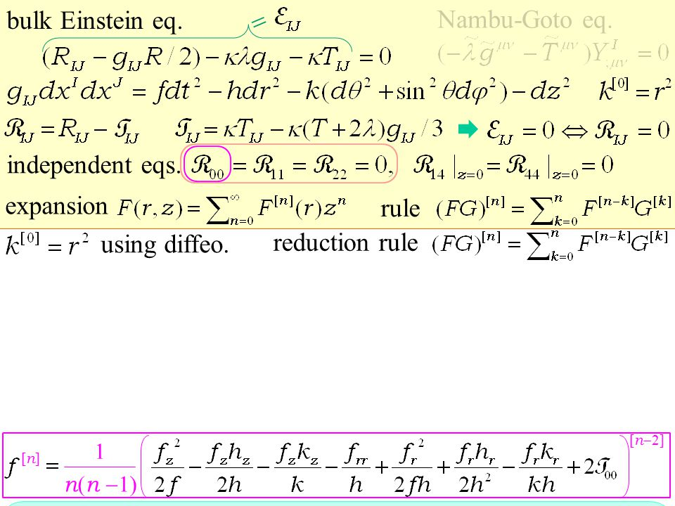 expansion bulk Einstein eq. Nambu-Goto eq. independent eqs.