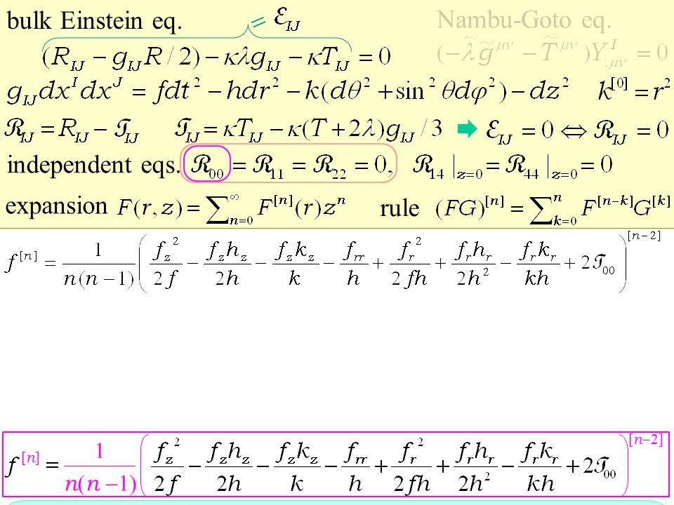 expansion bulk Einstein eq. Nambu-Goto eq. independent eqs.  [n][n] 1 n ( n  1) rule [ n  2]