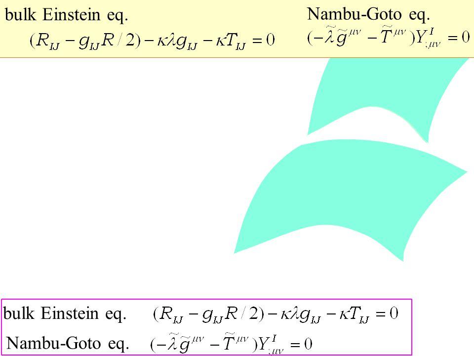 bulk Einstein eq. Nambu-Goto eq. bulk Einstein eq. Nambu-Goto eq.