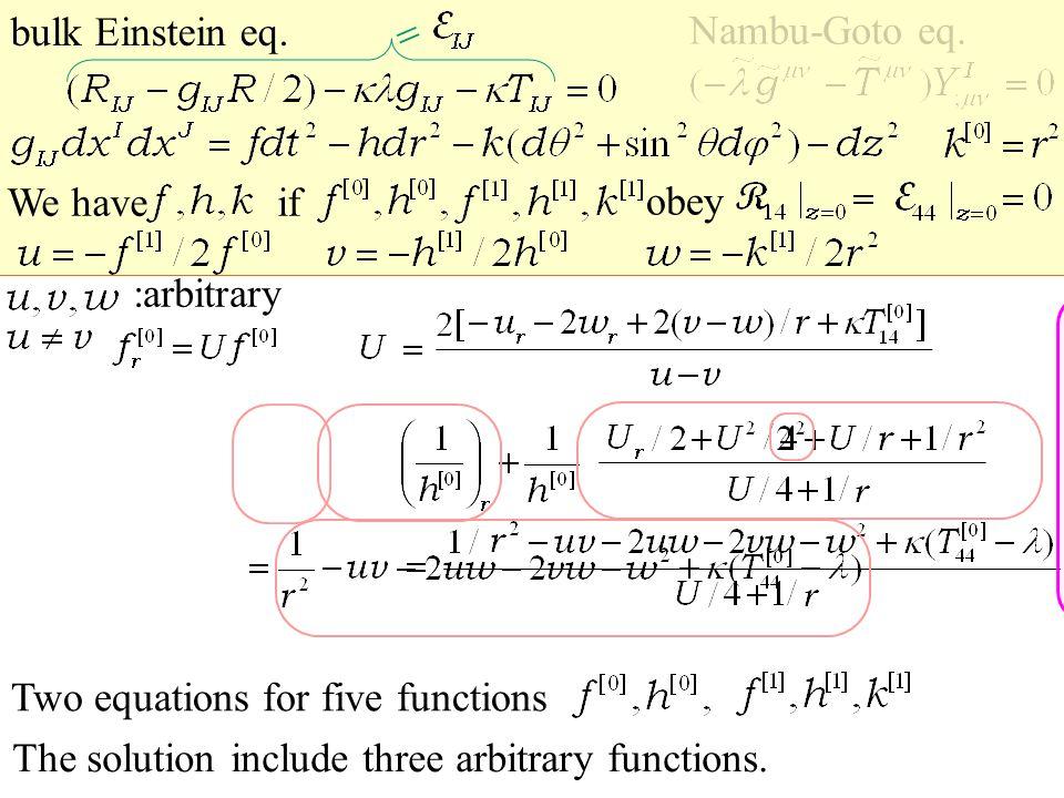 U U U U bulk Einstein eq. Nambu-Goto eq.  We have The solution include three arbitrary functions.