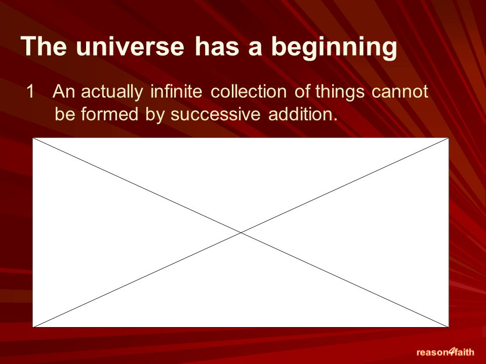 The universe has a beginning 1An actually infinite collection of things cannot be formed by successive addition.