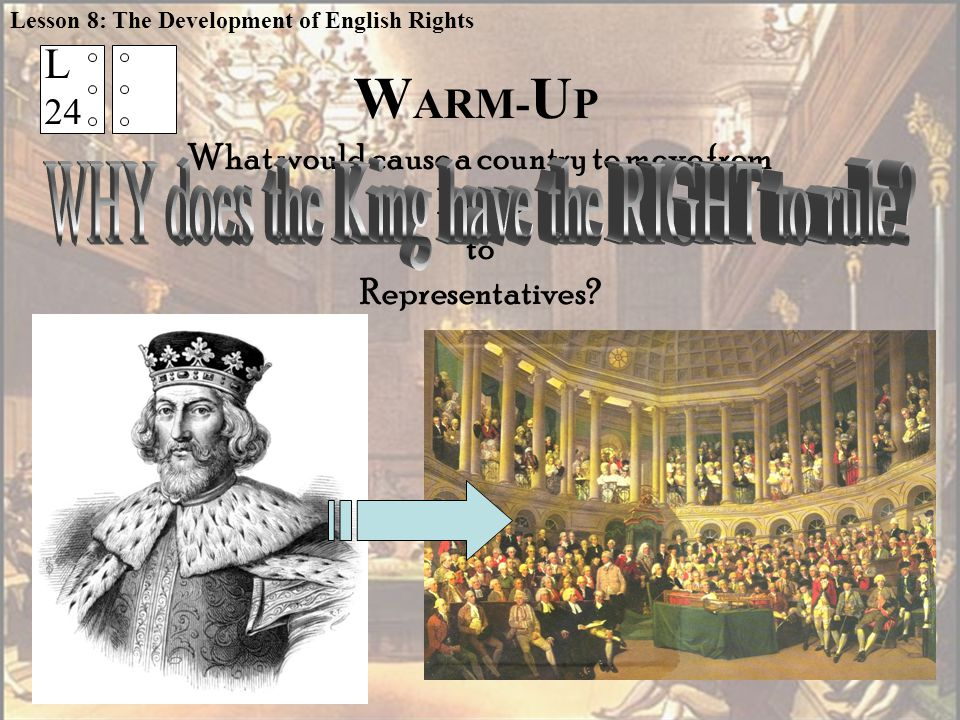 L 24 W ARM- U P What would cause a country to move from KING to Representatives.