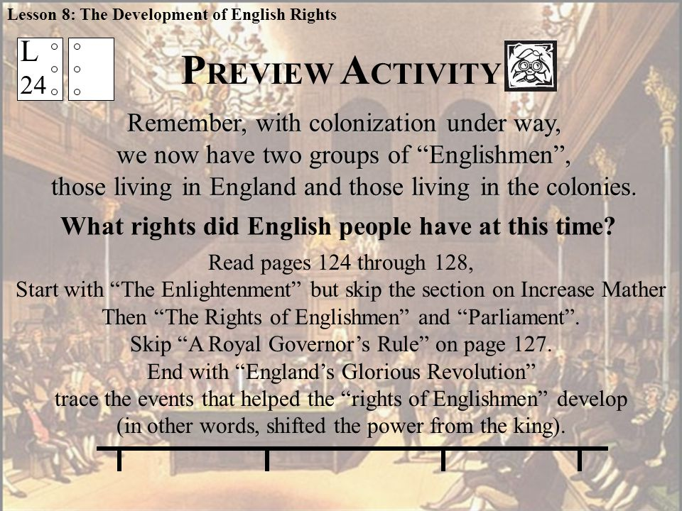 L 24 What rights did English people have at this time.