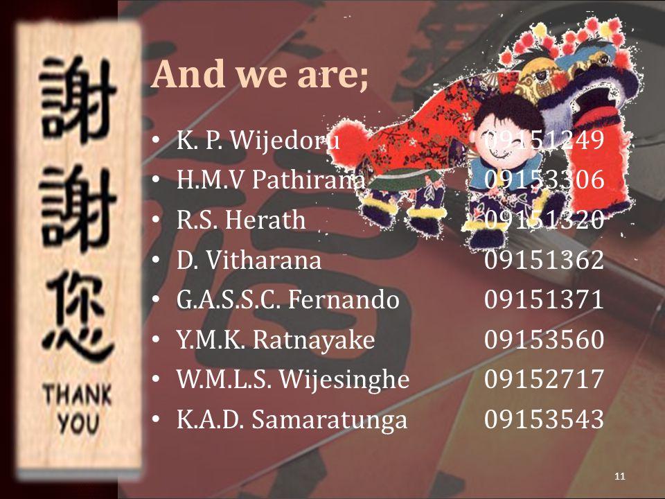 And we are; K. P. Wijedoru09151249 H.M.V Pathirana09153306 R.S.