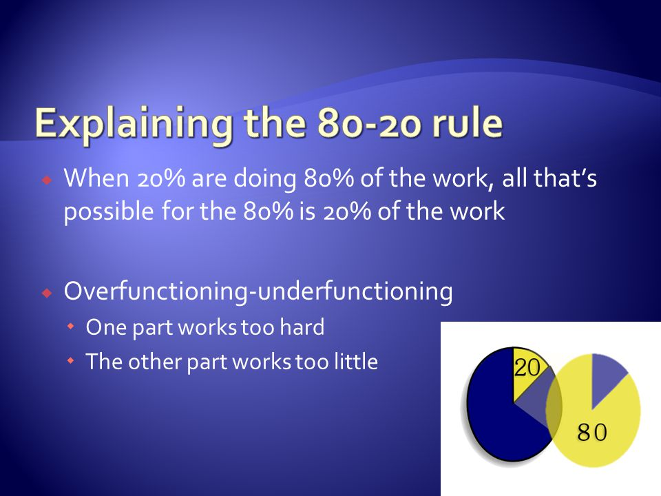  When 20% are doing 80% of the work, all that's possible for the 80% is 20% of the work  Overfunctioning-underfunctioning  One part works too hard