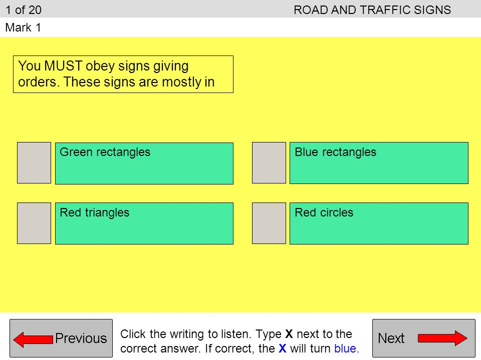 ROAD AND TRAFFIC SIGNS Sample questions from the (Road and Traffic Signs) unit of the Driving Theory syllabus.