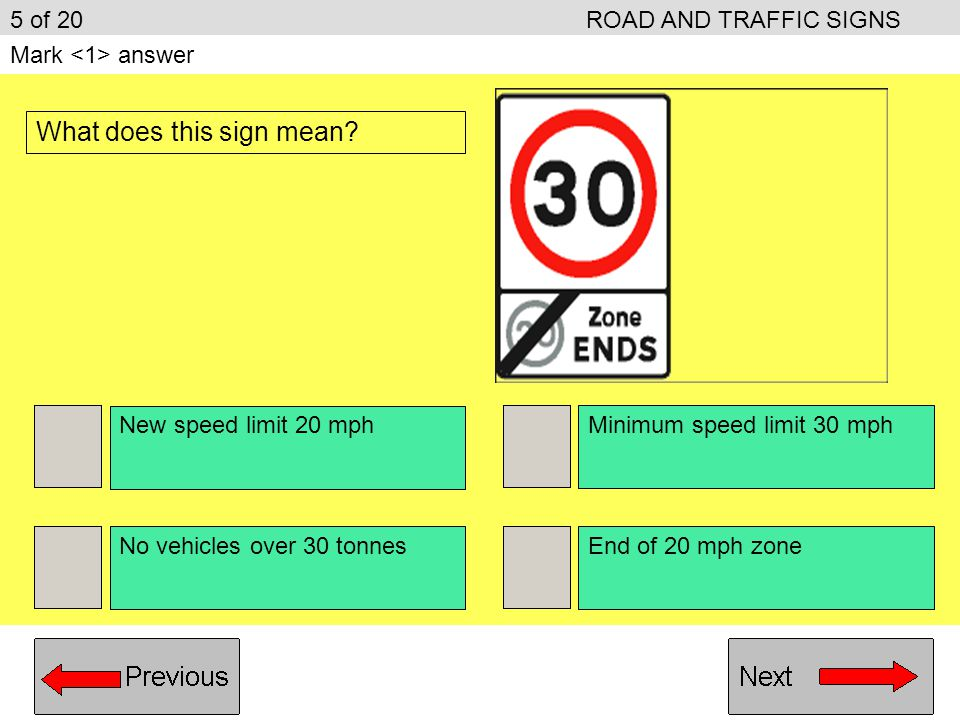 End of two-way road Give priority to vehicles coming towards you You have priority over vehicles coming towards you Bus lane ahead 15 of 20ROAD AND TRAFFIC SIGNS Mark answer What is the meaning of this traffic sign?