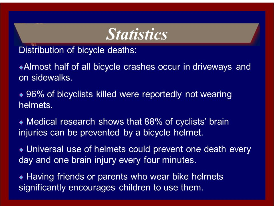 Statistics Distribution of bicycle deaths: Almost half of all bicycle crashes occur in driveways and on sidewalks.