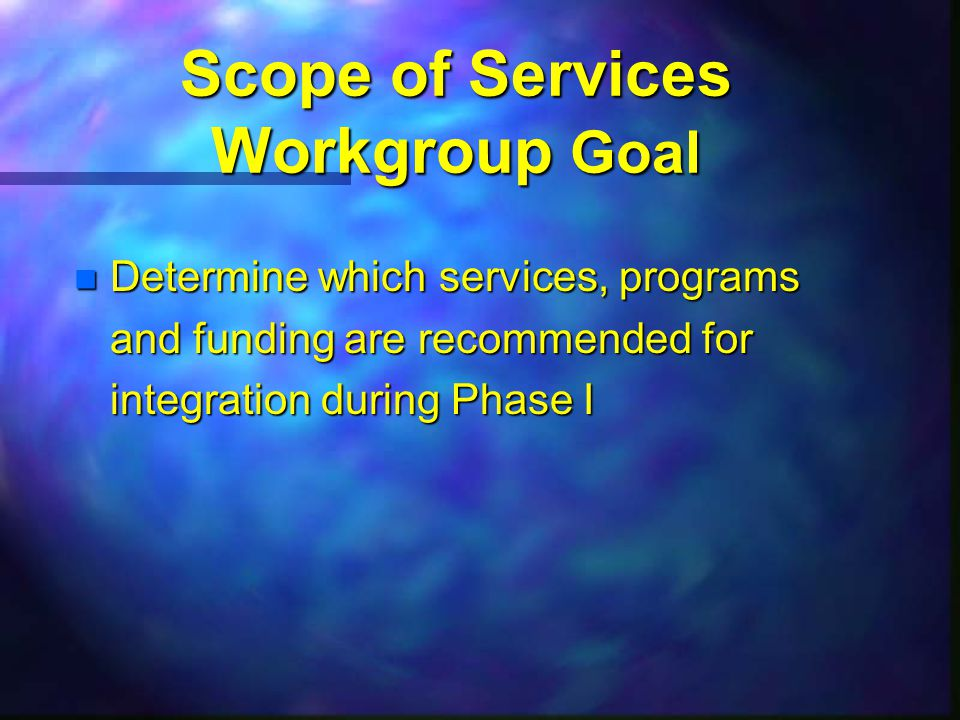 Scope of Services Workgroup Goal n Determine which services, programs and funding are recommended for integration during Phase I