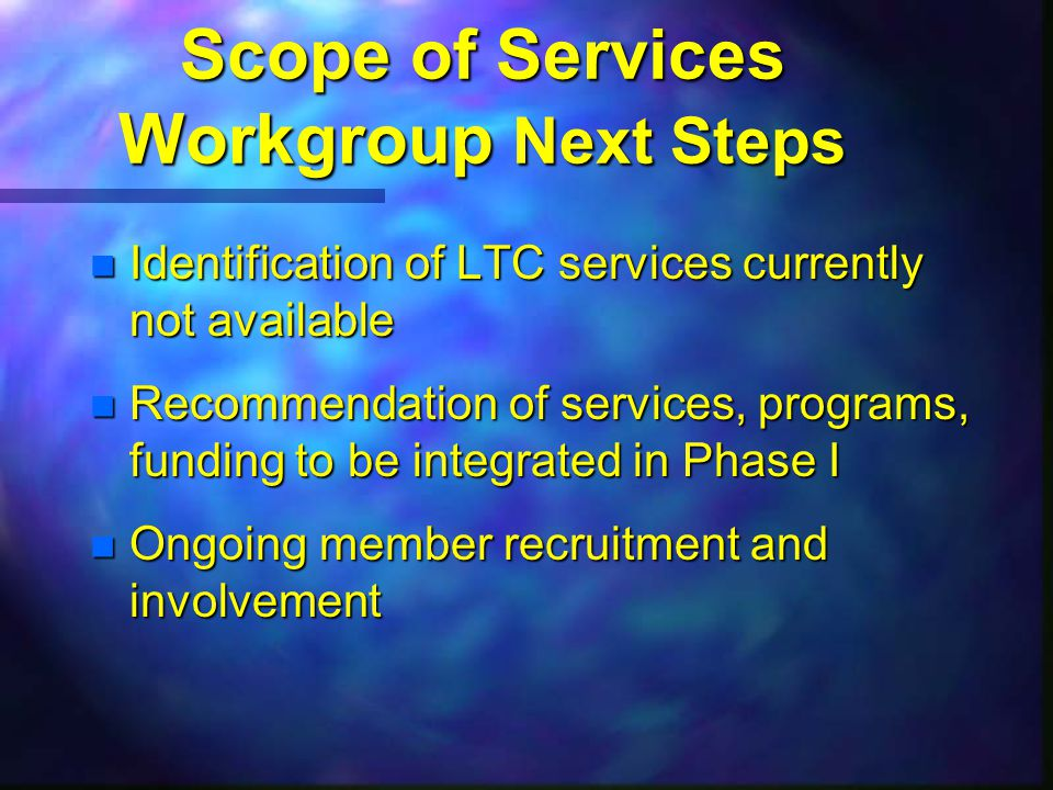 Scope of Services Workgroup Next Steps n Identification of LTC services currently not available n Recommendation of services, programs, funding to be integrated in Phase I n Ongoing member recruitment and involvement