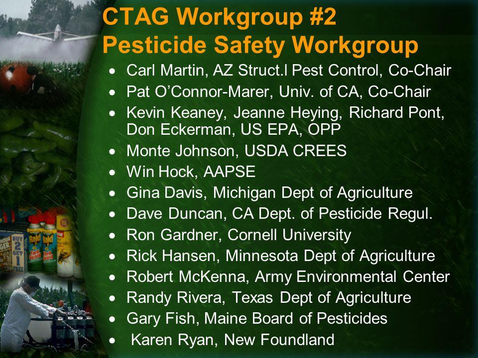CTAG Workgroup #2 Pesticide Safety Workgroup  Carl Martin, AZ Struct.l Pest Control, Co-Chair  Pat O'Connor-Marer, Univ.