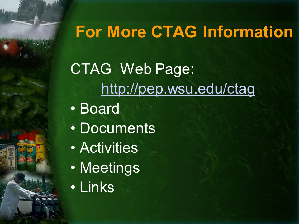 For More CTAG Information CTAG Web Page: http://pep.wsu.edu/ctag Board Documents Activities Meetings Links