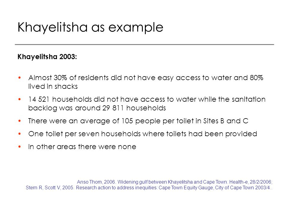 Khayelitsha as example Khayelitsha 2003: Almost 30% of residents did not have easy access to water and 80% lived in shacks 14 521 households did not have access to water while the sanitation backlog was around 29 811 households There were an average of 105 people per toilet in Sites B and C One toilet per seven households where toilets had been provided In other areas there were none Anso Thom, 2006.