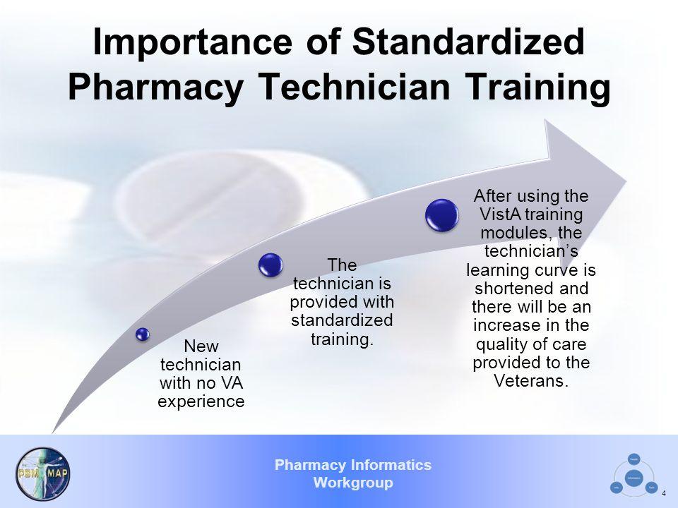 Pharmacy Informatics Workgroup Importance of Standardized Pharmacy Technician Training New technician with no VA experience The technician is provided with standardized training.