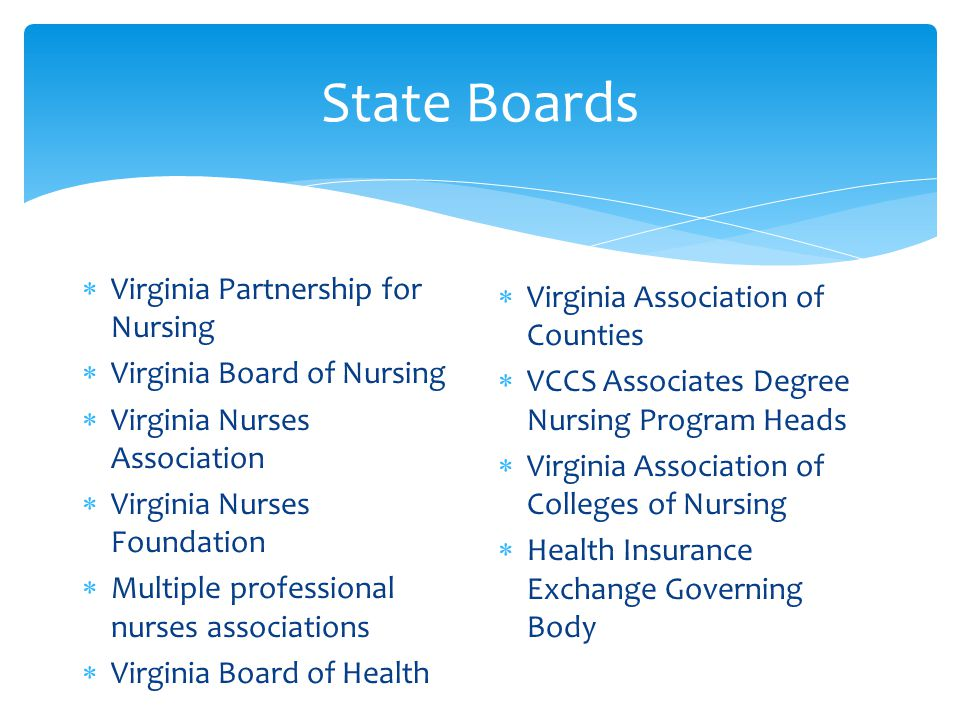 State Boards  Virginia Partnership for Nursing  Virginia Board of Nursing  Virginia Nurses Association  Virginia Nurses Foundation  Multiple professional nurses associations  Virginia Board of Health  Virginia Association of Counties  VCCS Associates Degree Nursing Program Heads  Virginia Association of Colleges of Nursing  Health Insurance Exchange Governing Body
