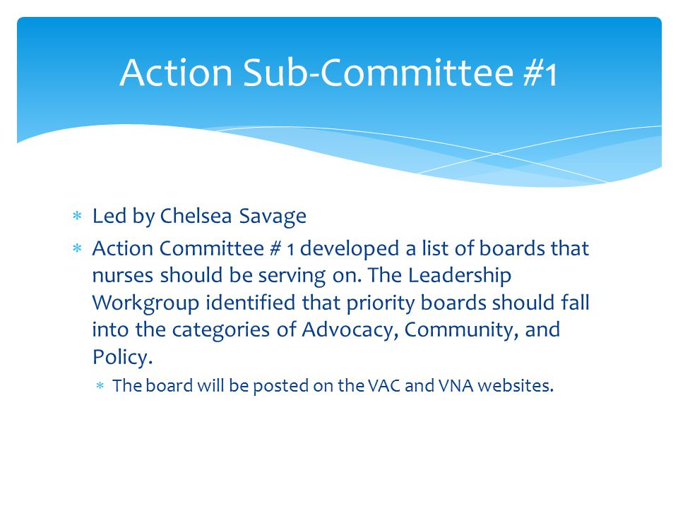  Led by Chelsea Savage  Action Committee # 1 developed a list of boards that nurses should be serving on.