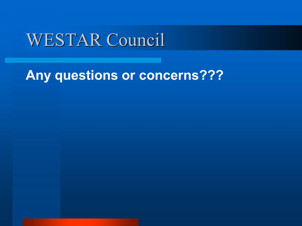WESTAR Council Any questions or concerns???