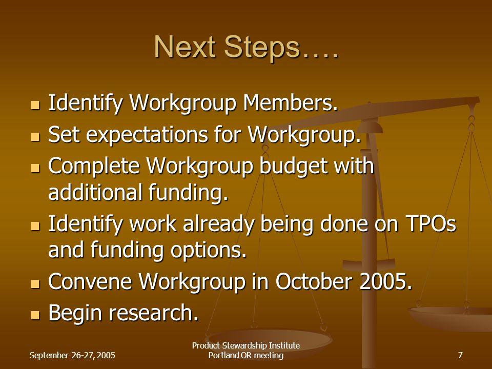 September 26-27, 2005 Product Stewardship Institute Portland OR meeting7 Next Steps….
