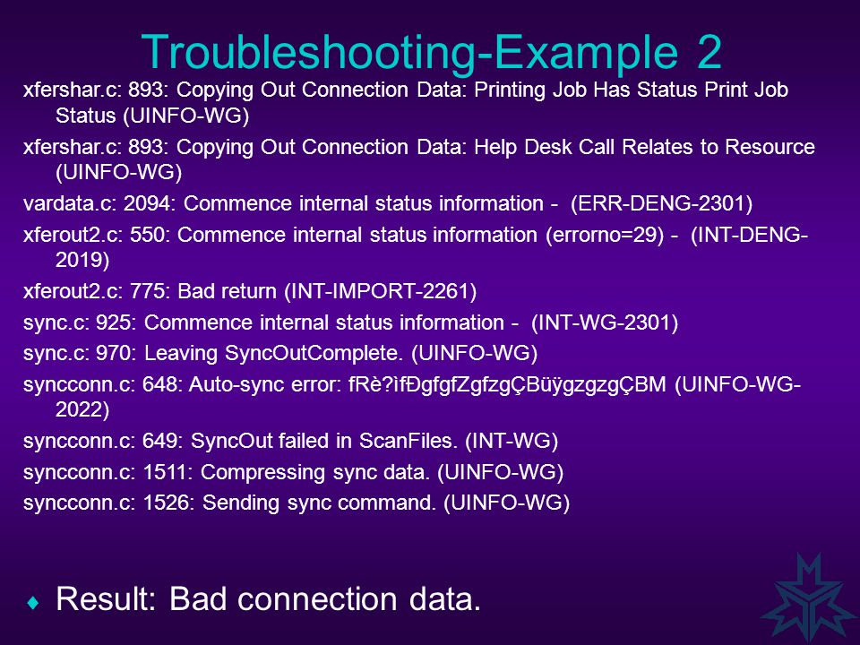 Troubleshooting-Example 2 4/07/97: 10:24: Copying Out Connection Data: Help Desk Call Allocated To Person (UINFO-WG) vardata.c: 2094: 4/07/97: 10:27: