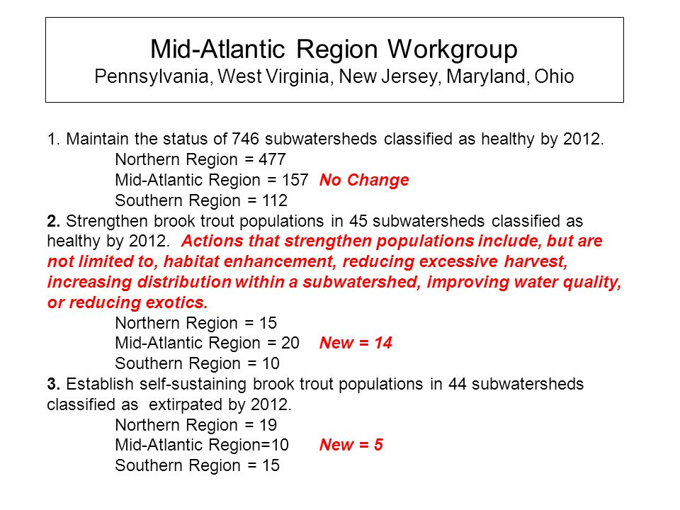 Mid-Atlantic Region Workgroup Pennsylvania, West Virginia, New Jersey, Maryland, Ohio 1.