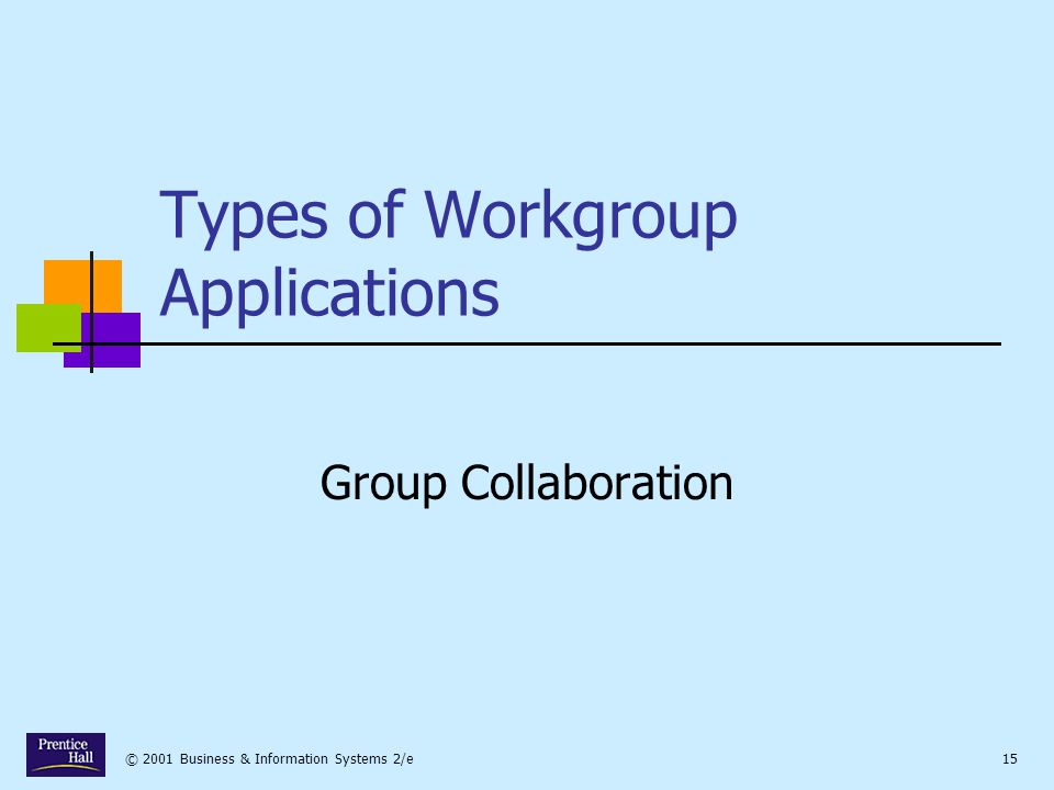 © 2001 Business & Information Systems 2/e15 Types of Workgroup Applications Group Collaboration